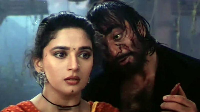 Sanjay Dutt and Madhuri Dixit-Nene in a still from 'Khalnayak'.