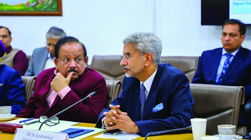 Union health minister Harsh Vardhan and external affairs minister S. Jaishankar during a meeting of high-level Group of Ministers (GoM) to review the actions for prevention and management of novel coronavirus in New Delhi on Thursday. (Photo: PTI)
