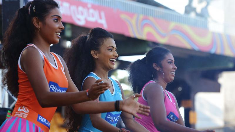 Cheerleaders perform during a cricket match in Colombo. AFP Photo