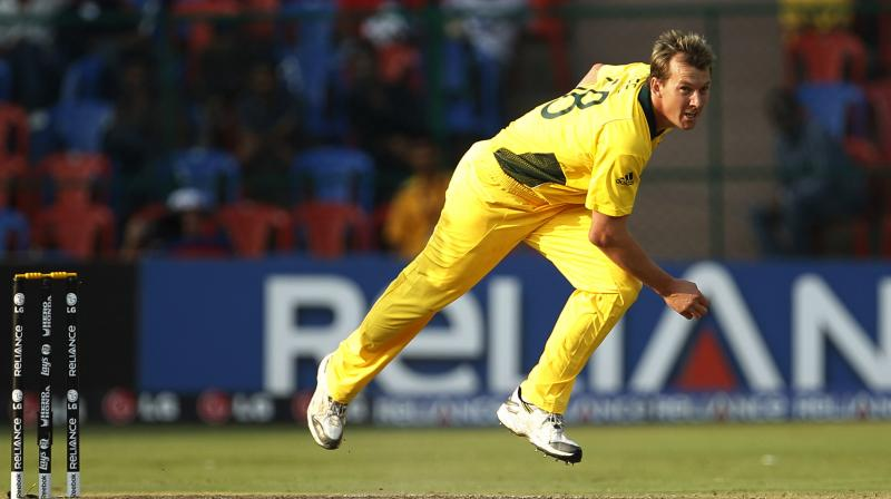 Australia's Brett Lee bowls during the World Cup Group A match against Canada in Bangalore. AP Photo