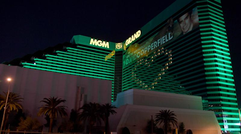 A view of the guest rooms at the shuttered MGM Grand Hotel & Casino on the Las Vegas Strip illuminated to form the shape of a heart as a result of the statewide shutdown due to the continuing spread of the coronavirus. AFP Photo