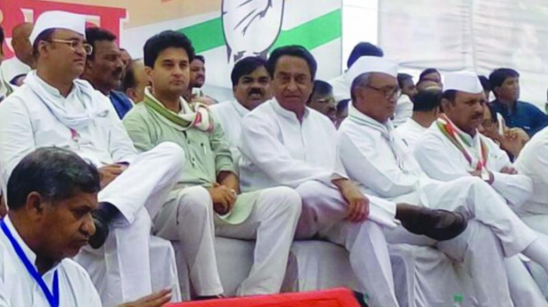 New MP Congress president Kamal Nath (middle) attending a meeting.