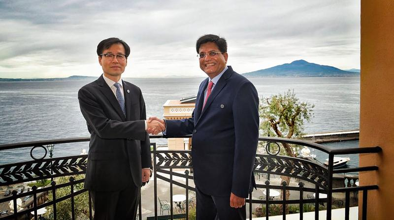Union Minister Piyush Goyal held a meeting with South Korean Trade Minister Yeo Han-koo on the sidelines of the G20 Trade Ministers' Meeting in Italy. (PTI)