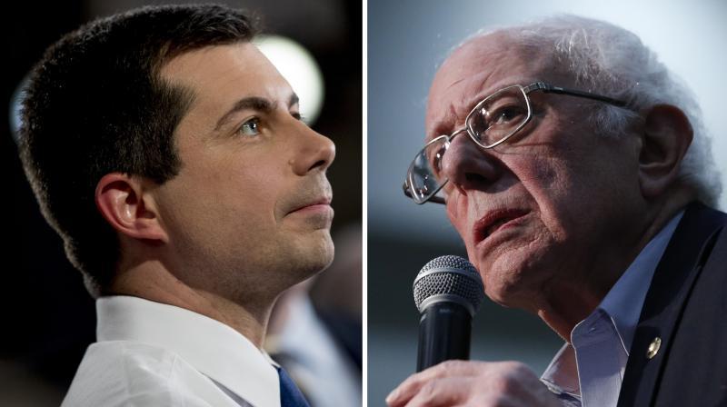 Democratic presidential candidates Pete Buttigieg (left) and Bernie Sanders. (File photo: AP)
