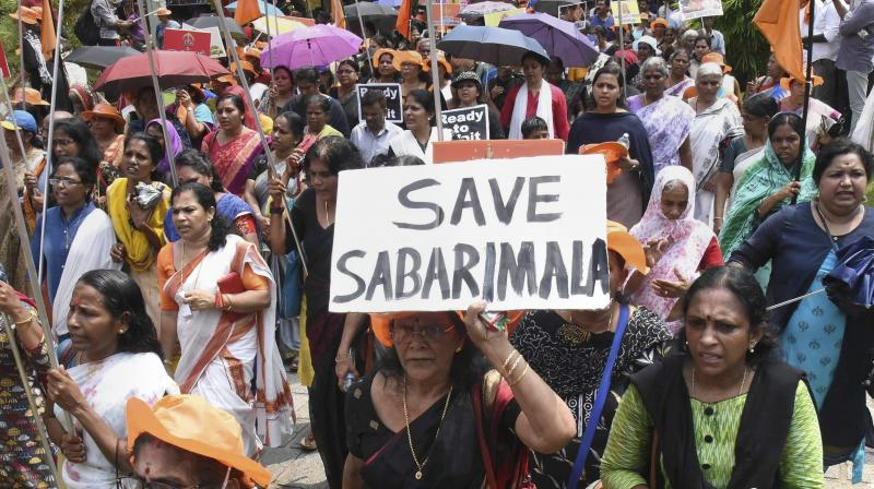 Kerala has been witnessing protests against the entry of girls and women of menstrual age into Sabarimala temple since the government had said it would abide by the ruling of the apex court. (Photo: File | PTI)