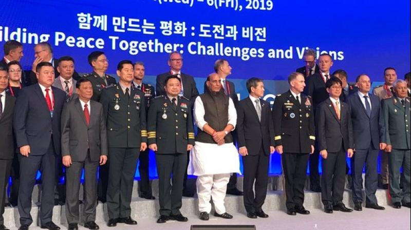 Union Defence Minister Rajnath Singh on Thursday stated that India has never been an aggressor in history but would not hesitate in using its strength to defend itself. (Photo: Twitter/ Rajnath Singh)