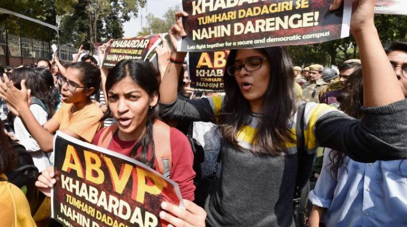 Students and teachers of Delhi University, JNU and Jamia during their protest march against ABVP at North Campus in New Delhi. (Photo: PTI)