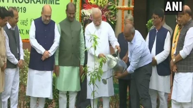 Among others present were Home Minister Amit Shah, Defence Minister Rajnath Singh, and Minister of Environment, Forest and Climate Change, Prakash Javadekar. (Photo: ANI)
