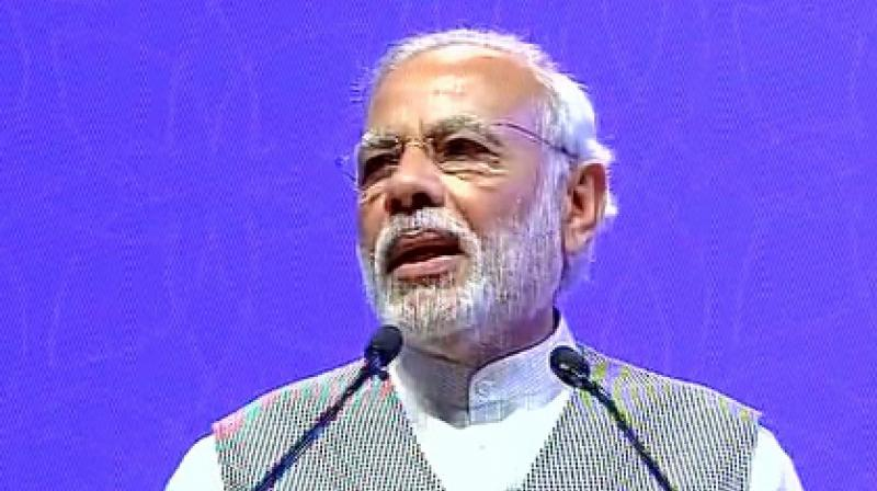 Prime Minister Narendra Modi speaking at Pravasi Bharatiya Divas. (Photo: ANI Twitter)