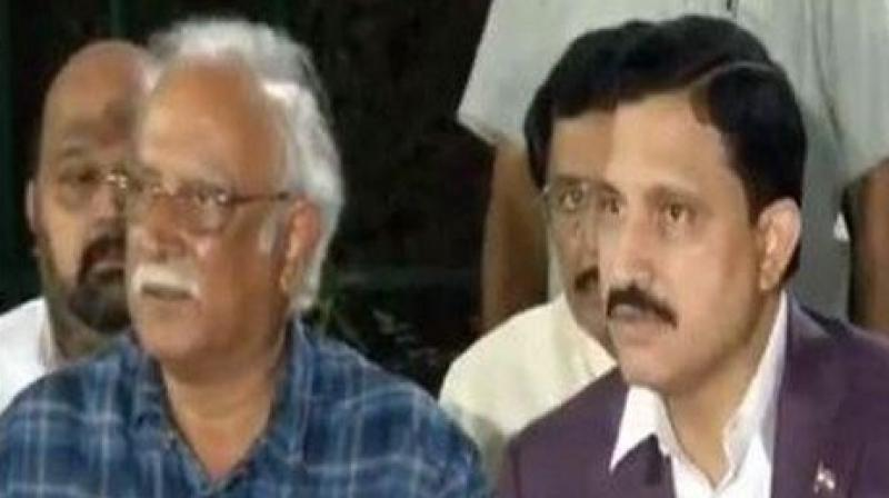 Two Telugu Desam Party (TDP) ministers -- Ashok Gajapathi Raju and YS Chowdhary -- submitted their resignation on Thursday following their meeting with Prime Minister Narendra Modi. (Photo: ANI | Twitter)