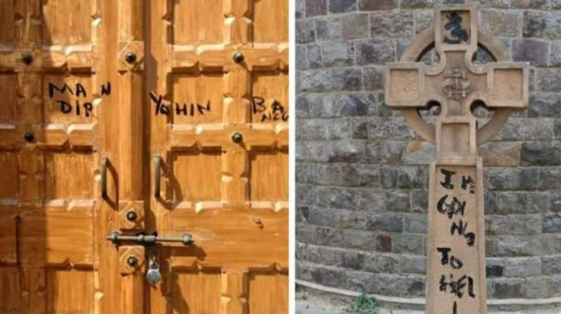 The defaced door of the chapel and the cross marked with black ink at St Stephen's College on Friday. (Photo: Twitter)