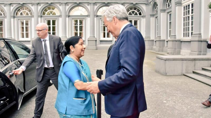 External Affairs Minister Sushma Swaraj with Belgian Deputy Prime Minister and Foreign Minister Didier Reynders upon her arrival at Egmont Palace, Belgium (Photo: MEAIndia/Twitter)
