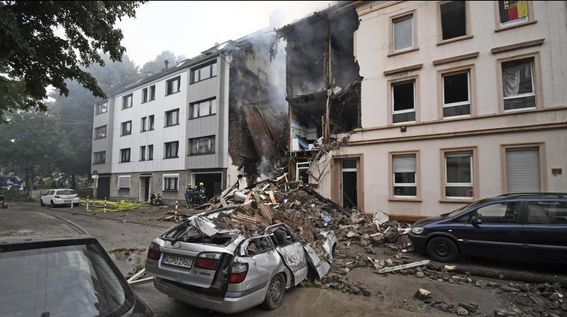 A building is destroyed after an explosion in Wuppertal, Germany. (Photo: AP)