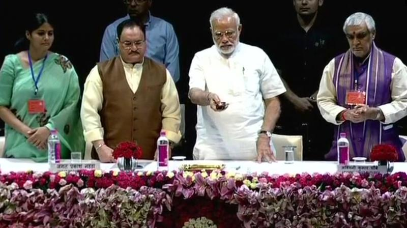 Prime Minister Narendra Modi at the National Centre for Aging at All India Institute of Medical Sciences. (Photo: @ANI/Twitter)