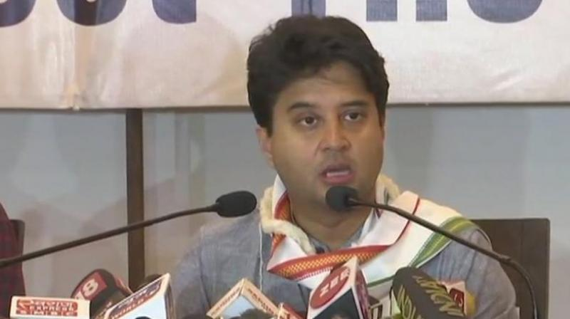 Congress Party leader Jyotiraditya Scindia (Photo: ANI/Twitter)