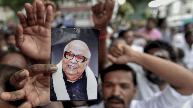 DMK supporters react after the party president M Karunanidhi passed away, in Chennai. (Photo: File | PTI)