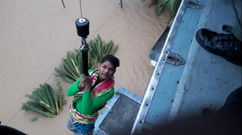 As per tweets from the Defence Ministry of India on Friday, over 3000 people have been rescuedsince the flooding started. (Photo: Twitter/@DefenceMinIndia)