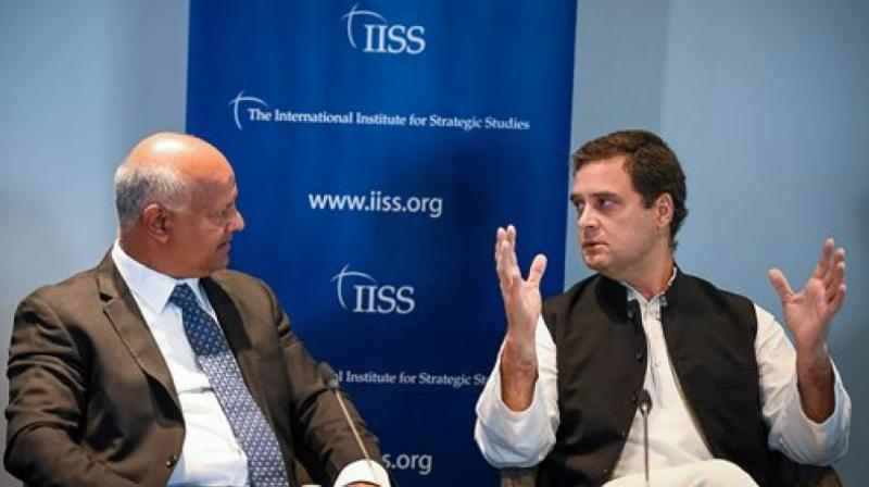 Congress President Rahul Gandhi in a panel at International Institute for Strategic Studies (IISS), in London. (Photo: PTI)