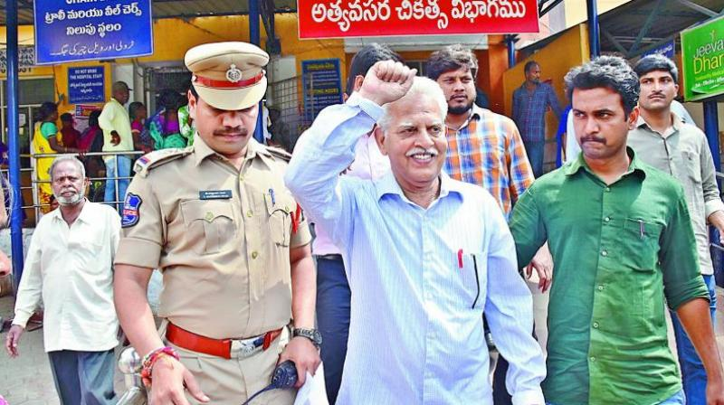 Prominent Telugu poet Varavara Rao was arrested from Hyderabad by the Maharashtra Police. (Photo: File)