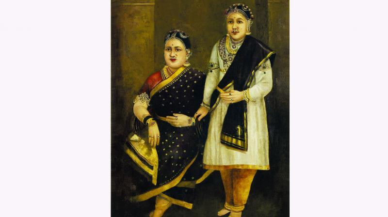 H.H. Janaki Subbamma Bai Sahib Rani of Pudukkottai & her daughter.