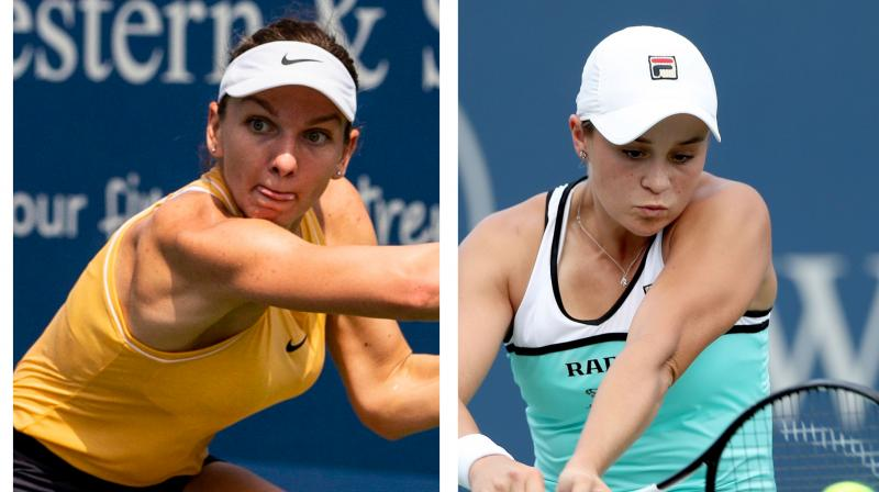 Top seeded Ashleigh Barty overcame a slow start to defeat Maria Sharapova 6-4 6-1, while Simona Halep battled past Ekaterina Alexandrova 3-6 7-5 6-4 in the second round of the Cincinnati Masters on Wednesday. (Photo:AFP/AP)