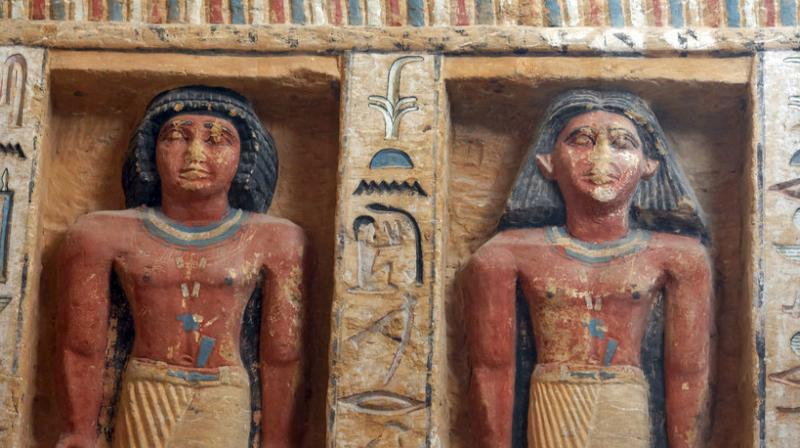 Relief statues are seen at the recently uncovered tomb of the Priest royal Purification during the reign of King Nefer Ir-Ka-Re, named