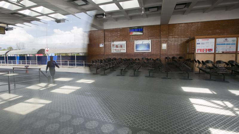 An empty arrival area at Tribhuvan International airpot in Kathmandu during the lockdown. (AP)