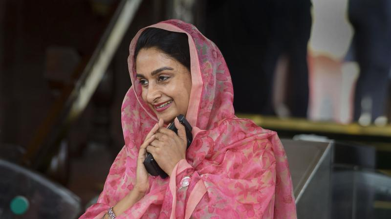 File photo of Union food processing industries minister Harsimrat Kaur Badal Parliament House in New Delhi. Badal resigned from Narendra Modi's cabinet on Thursday, Sept. 17, 2020, over the farm sector bills. (PTI)