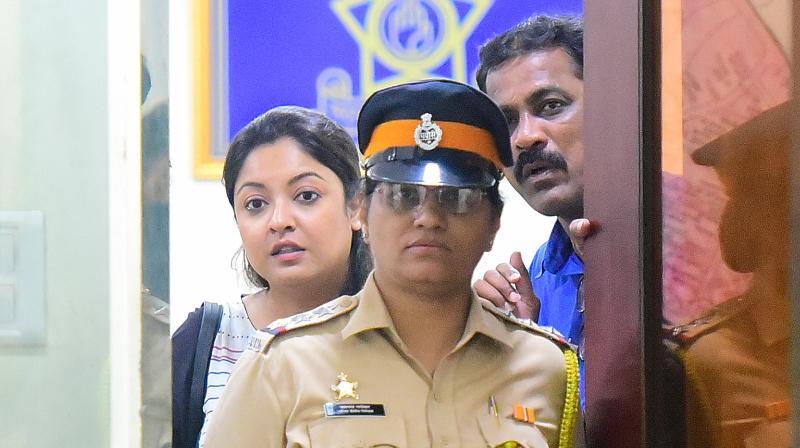 Tanushree Dutta at Oshiwara police station in Mumbai. (Photo: Mrugesh Bandiwadekar)