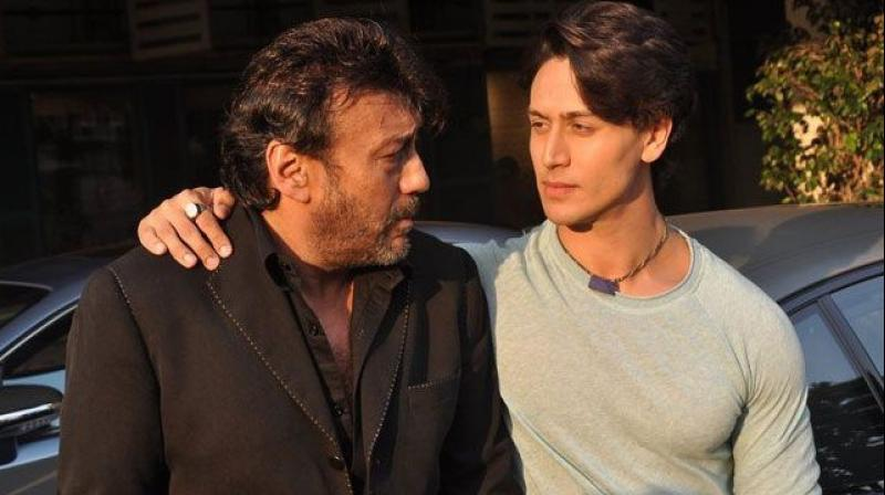 Jackie Shroff with Tiger Shroff.