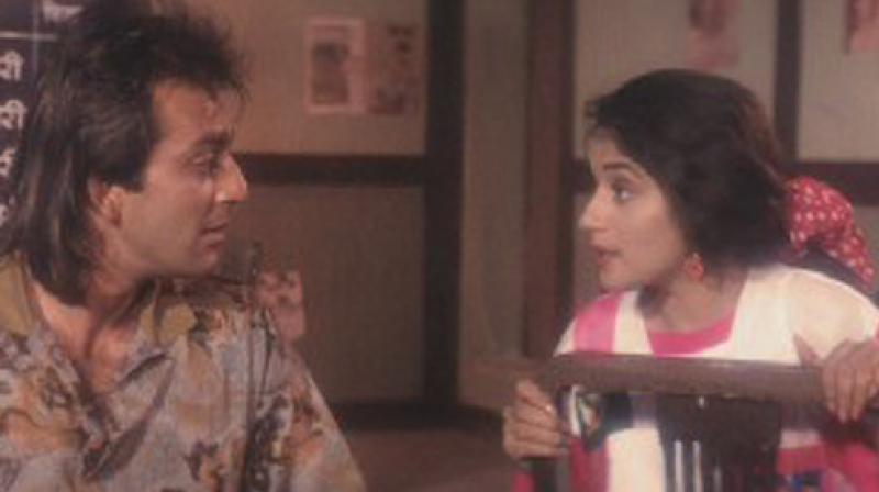 Sanjay Dutt and Madhuri Dixit in a still from 'Saajan'.