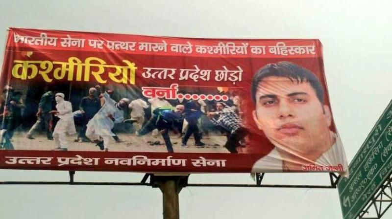 UP Navnirman Sena chief Amit Jani said that they have put up these banners and hoardings along the Partapur bypass outside the colleges where Kashmiri students study. (Photo: Twitter)