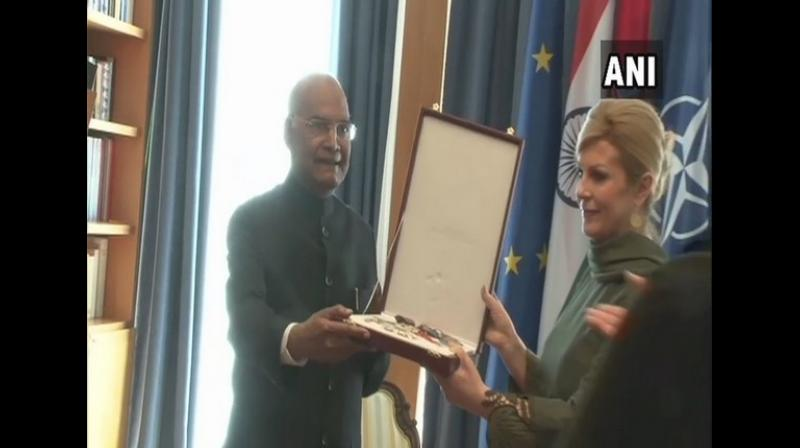 President Ram Nath Kovind on Tuesday received Croatia's highest civilian order, the Grand Order of the King of Tomislav, during his official visit to the nation. (Photo: ANI)