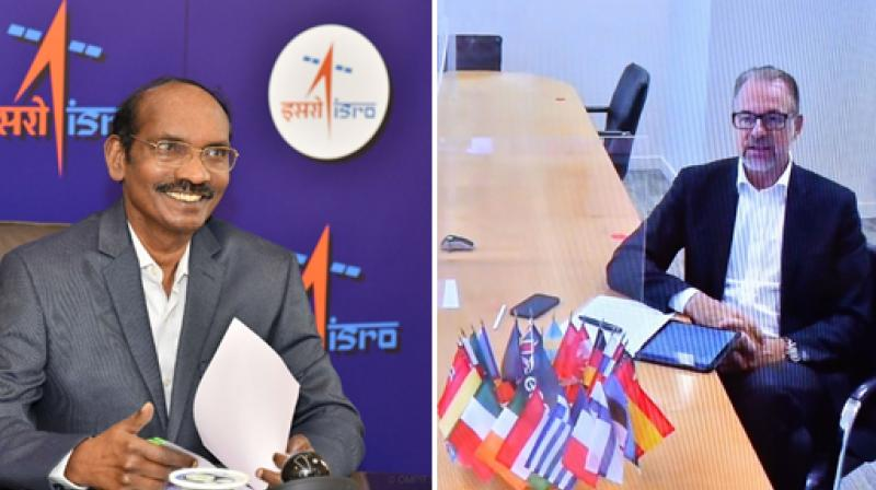 Dr. K Sivan in a virtual meeting with Dr. Josef Aschbacher, Director General, European Space Agency. (Photo: Twitter/@isro)