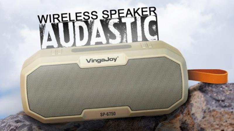 This splash and dust-proof speaker comes in four eye-catching colours.