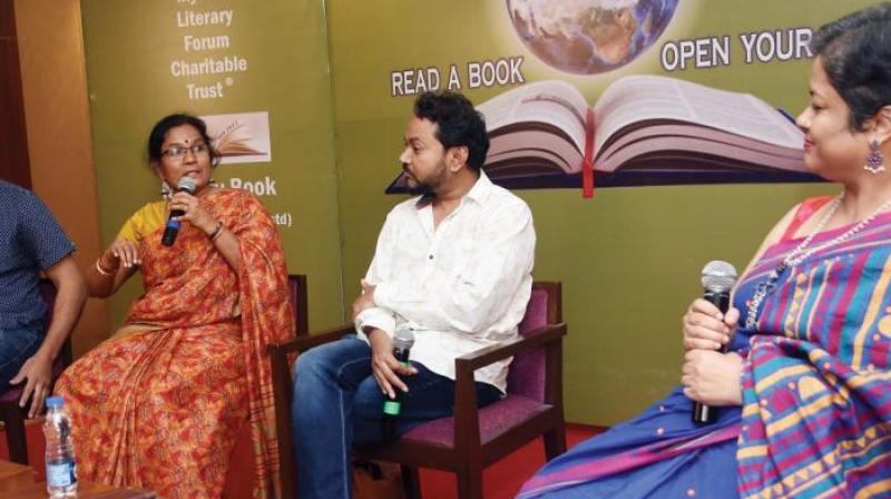 K.M. Chaithanya along with other panelists at the Mysuru Literature Festival 2019