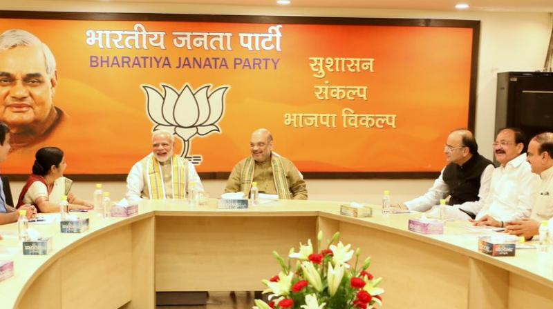Glimpses of BJP Parliamentary Board Meeting at BJP HQ, New Delhi. (Photo: Twitter | Amit Shah)