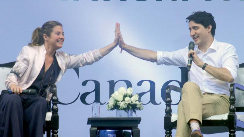 Canadian Prime Minister Justin Trudeau with wife Sophie Gregoire gestures while speaking at the United Nations Young Changemakers Conclave in New Delhi. (Photo: G.N.JHA)