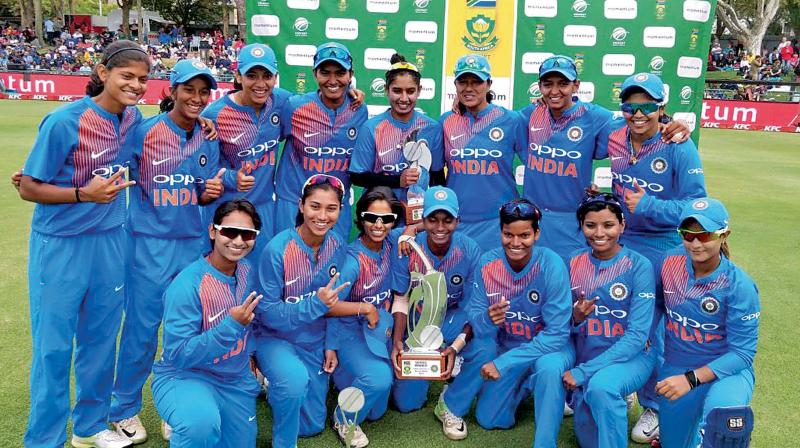 India women's team celebrate after winning the T20 series against South Africa. (Photo: BCCI)