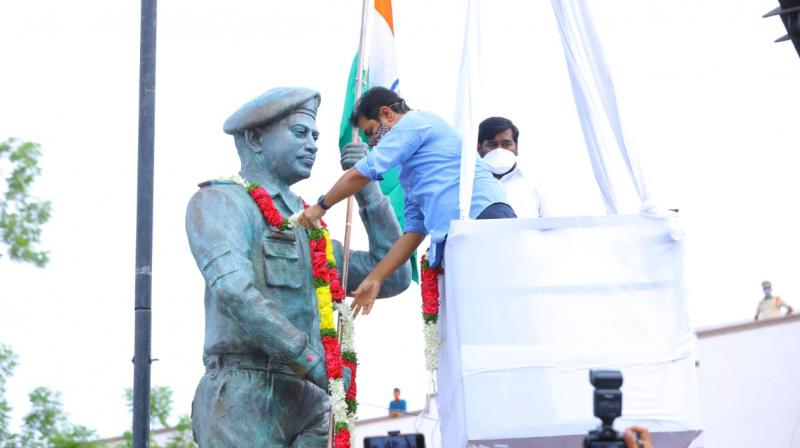 A statue of Col. Babu was unveiled Tuesday at Suryapet by Telangana minister K.T. Rama Rao. Col. Babu was from Suryapet, 140 km from Hyderabad. (DC)