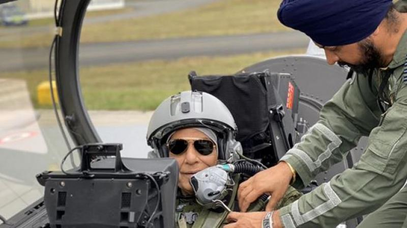Singh, who changed into combat flight gear for the ride after he had performed a Shastra Puja on the plane at Merignac airport, said the aircraft will enhance the Indian Air Force combat capability massively -- intended only for self-defence. (Photo: Twitter)