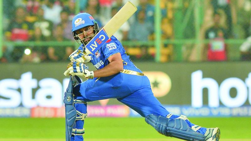 Mumbai Indians captain Rohit Sharma plays a shot during his knock of 48 in the match against Royal Challengers Bangalore at the Chinnaswamy Stadium in Bengaluru on Thursday. (Photo: SAMUEL RAJKUMAR)