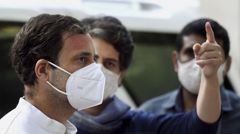 Congress leaders Rahul Gandhi and Priyanka Gandhi leave for Hathras to meet the family of the 19-year-old woman who died after she was assaulted and allegedly gang-raped, in New Delhi, Saturday, Oct. 3, 2020. (PTI Photo)