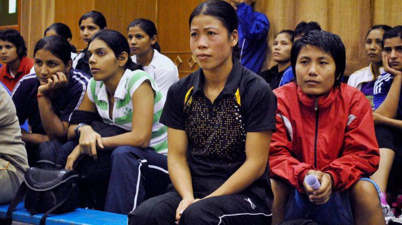 Women boxers at the national camp at NIS Patiala. PTI Photo