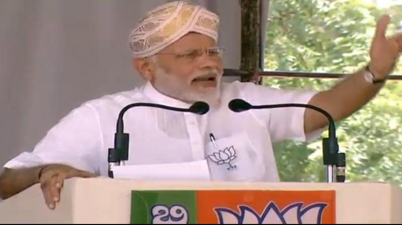 Prime Minister Narendra Modi addresses a rally at Kalaburagi in Karnataka. (Photo: Twitter/@BJP4India)