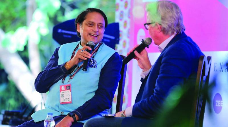 Author and Congress MP Shashi Tharoor speak at the Jaipur Literature Festival on Friday. (Photo: PTI)