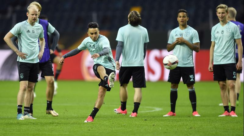 In this file photo, Ajax's Abdelhak Nouri kicks a ball during a training session at the Friends Arena in Stockholm, Sweden, in 2017. AP Photo