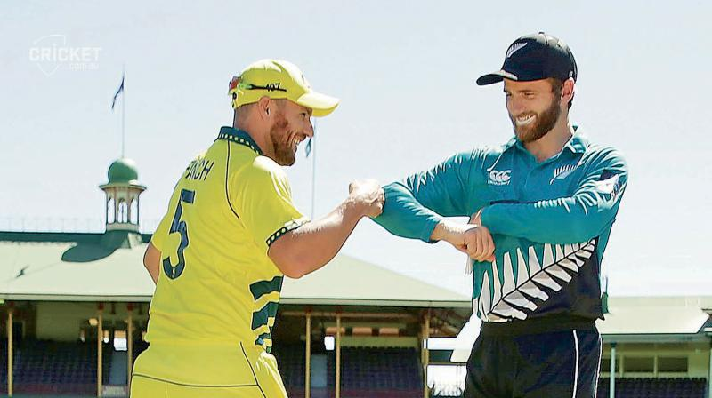 New Zealand played their last game against Australia at an empty Sydney Cricket Ground and the rivals captains Aaron Finch (L) and Kane Williamson did fist and elbow bumps. DC File Photo