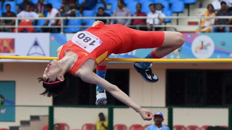 World Championships Silver medalist China's Zhang Guowei competes in the high jump event at the Asian Athletics Championships in Bhubaneswar, Odisha, in 2017. PTI Photo