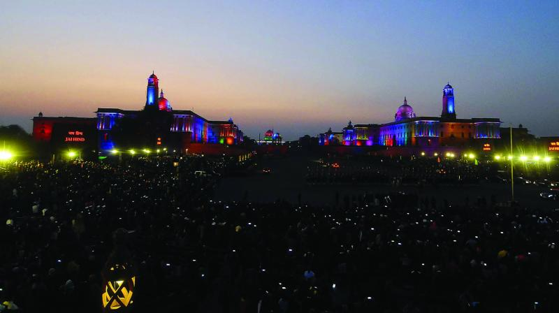 A view of illuminated Rashtrapati Bhavan, South Block and North Block during the Beating the Retreat ceremony in New Delhi on Wednesday. (Photo: PritamBandyopadhyay)